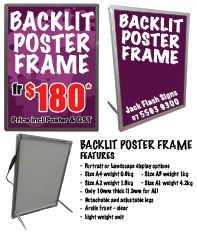 Backlit Poster Frame. Jack Flash Signs