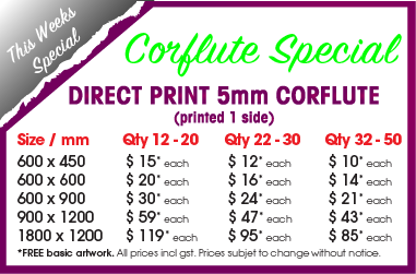 Corflute 5mm printed 1 side fr $15 each