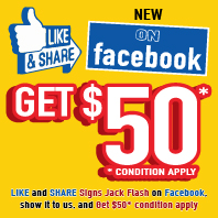 Like and Share Signs Jack Flash on Facebook, show it to us, get $50* condition apply