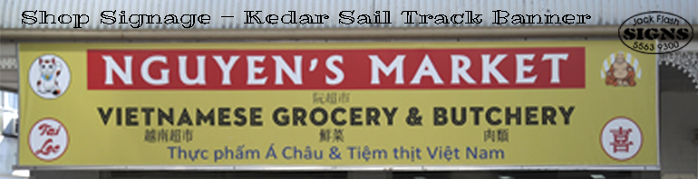 Shop Signage Kedar Sail Track Banner Jack Flash Signs