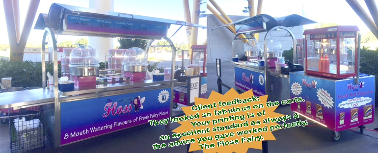 Print & Laminated - The Floss Fairy Carts Signs at Metricon Stadium. Jack Flash Signs