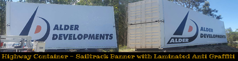 Alder Developments Sailtrack Banner For Container. Jack Flash Signs