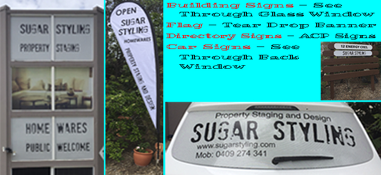 Building Signs- See Thrrough Glass Window. Flag Tear Drop Banner. Directory Signs ACP  Panel. Car Signs See Through Back Window.
